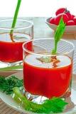 Jugo de tomate en dos vidrios Fotografía de archivo