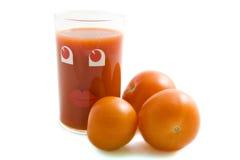 Jugo de tomate feliz Fotografía de archivo