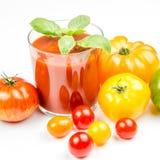 Jugo de tomate y tomates frescos Foto de archivo libre de regalías