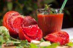Jugo de tomates Imágenes de archivo libres de regalías
