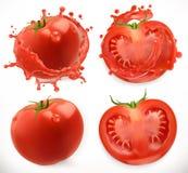 Jugo de tomates alimento fresco de vegetable Sistema del icono del vector ilustración del vector