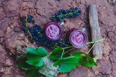 Jugo de uva en dos tazas imagenes de archivo