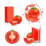 Jugo fresco del tomate Verdura realista con el sistema del icono del vector del chapoteo y del paquete Fotos de archivo libres de regalías