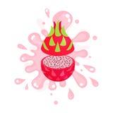 Jugo maduro cortado que salpica, ejemplo jugoso fresco colorido del pitaya de la fruta Foto de archivo libre de regalías