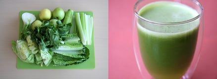 Jugo verde de verduras frescas Fotos de archivo