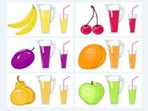 Jugo y frutas del kit Foto de archivo libre de regalías