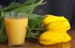 Jugo y tulipanes amarillos Fotografía de archivo libre de regalías