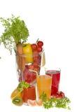 Jugos de la fruta y verdura Imagen de archivo
