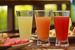 Jugos sanos de la fruta fresca Imagenes de archivo