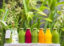 Jugos vegetales crudos planchados en frío orgánicos Imagen de archivo libre de regalías