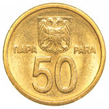 50 Jugoslawepara-Münze Stockfotos