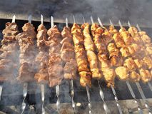 Jugoso adobado en kebab de la carne de las especias en los pinchos, cocinado y frito en una parrilla de la barbacoa del fuego y d imagen de archivo