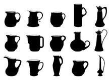 Jugs. Fifteen different jugs black and white silhouettes Stock Photos