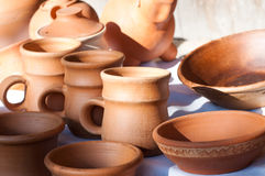 Jugs And Plates In In The Morning Light Royalty Free Stock Images