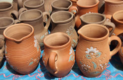 Jugs from clay. The Ukrainian traditional jugs from clay Stock Photo