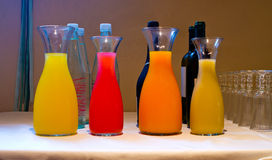 Jugs of fresh juice for the summer Royalty Free Stock Photo