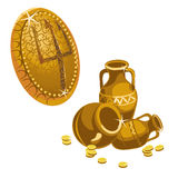 Jugs, gold coins and shield with a Trident Stock Photos