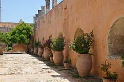 Jugs. Jags in Moni Arkadiou, Greek monastery in Crete Stock Photo