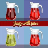 Jugs with juice. Isolated image. royalty free illustration