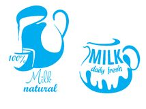 Jugs with natural milk Royalty Free Stock Photography