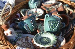 Jugs and plate ceramic painted. Jugs and painted ceramic plates Stock Photo
