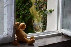 Juguete abandonado, ventana abierta Fotos de archivo libres de regalías