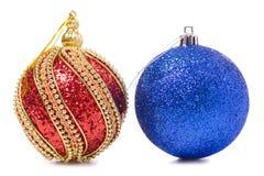 Juguete azul del árbol de navidad del oro rojo de la decoración de la Navidad Imagen de archivo