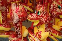 Juguete chino de la serpiente del paño Fotos de archivo