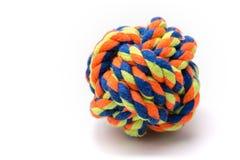 Juguete colorido de la bola de la cuerda del perro Foto de archivo libre de regalías