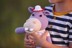 Juguete de Amigurumi Hipopótamo Foto de archivo libre de regalías