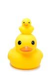 Juguete de goma amarillo del pato en fondo del blanco del aislante Imagen de archivo