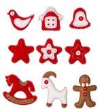 Juguete de la ejecución de la decoración de la Navidad, fondo blanco, decoración de Navidad Imagenes de archivo