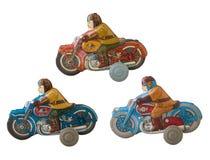 Juguete de la lata de las motocicletas/blanco aislado imágenes de archivo libres de regalías