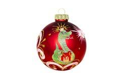 Juguete de la Navidad con la imagen de una serpiente en un fondo blanco Imagen de archivo libre de regalías