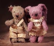 Juguete de las liebres y oso de peluche Imagen de archivo libre de regalías