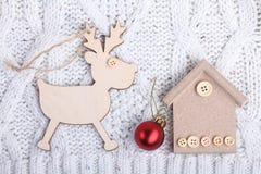 Juguete de madera de la Navidad del Año Nuevo Imagenes de archivo