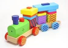 Juguete de madera del tren Fotos de archivo libres de regalías