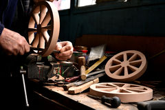 Juguete de madera, el trabajador Fotos de archivo libres de regalías