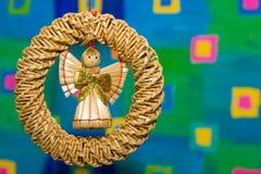 Juguete del ángel hecho de la paja Imagen de archivo libre de regalías