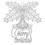 Juguete del árbol de navidad con las hojas del muérdago, deseos en zentangle ilustración del vector
