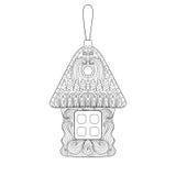 Juguete del árbol de navidad en la forma de la casa en estilo del zentangle Mano dibujada Imágenes de archivo libres de regalías