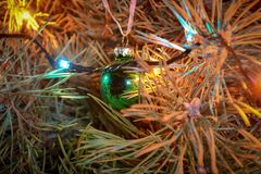 Juguete del árbol de navidad en un primer de la rama imagenes de archivo