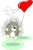 Juguete del erizo del bebé de la historieta con el globo rojo del corazón Foto de archivo