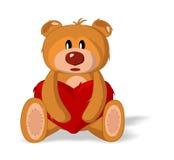 Juguete del oso con el corazón stock de ilustración