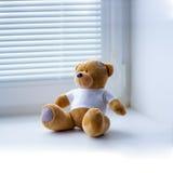 Juguete del oso de peluche en una camiseta blanca Imagen de archivo libre de regalías