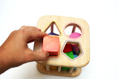 Juguete del rompecabezas de la dimensión de una variable del bebé Foto de archivo