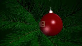 Juguete del ` s del Año Nuevo 2019 en un árbol de navidad ilustración del vector