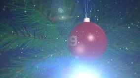 Juguete del ` s del Año Nuevo 2019 en un árbol de navidad stock de ilustración