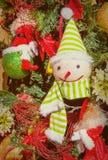 Juguete divertido de la Navidad Muñeco de nieve en abeto Foto de archivo libre de regalías