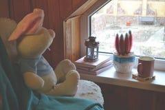 Juguete en la silla cerca de la ventana Libros, cactus, linterna de la vela y una taza de té en el travesaño de la ventana Imagen de archivo libre de regalías